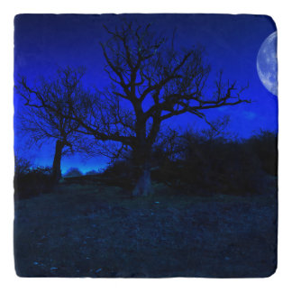 Dead Tree At Midnight With A Glowing Full Moon Trivet