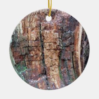 Dead tree bark round ceramic decoration