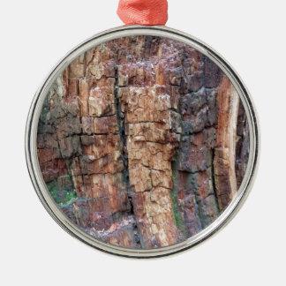 Dead tree bark Silver-Colored round decoration