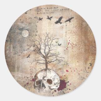 Dead tree dark art classic round sticker