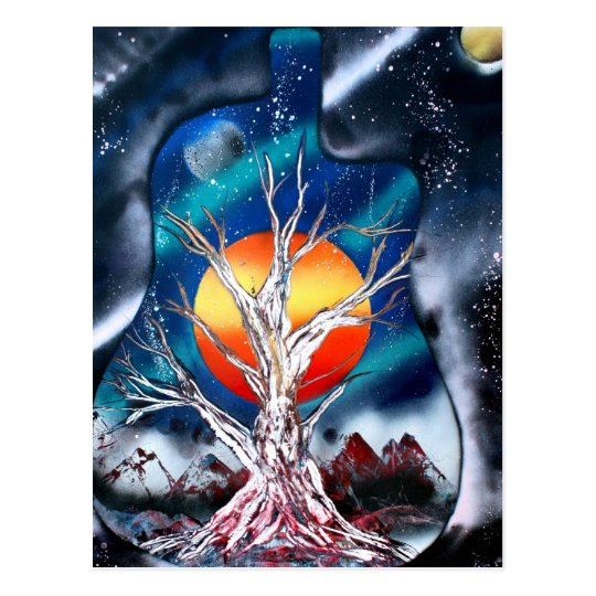 Dead tree red mountains yellow planet space postcard