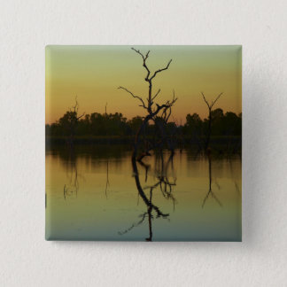 Dead trees reflected in Lily Creek Lagoon, dawn 15 Cm Square Badge