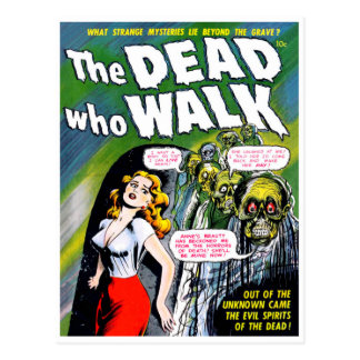 Dead Who Walk - Vintage Zombie Horror Postcard