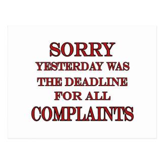 Deadline For Complaints Postcards