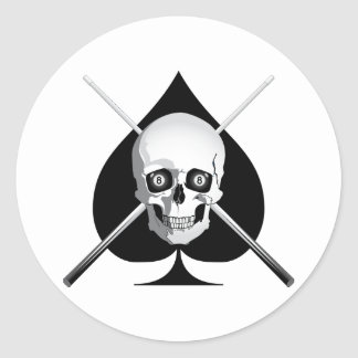 Deadly Billiards Ace Classic Round Sticker