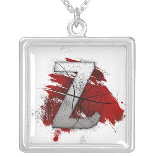 Deadly Design Monogram Letter Z Silver Plated Necklace