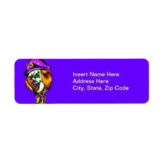 Deadly Evil Clown Return Address Label