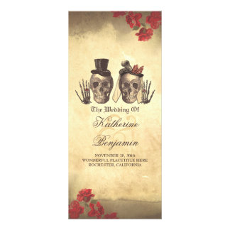 Deadly nice Gothic skull couple wedding programs Full Color Rack Card