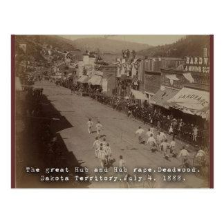 Deadwood Hub and Hub Race 1888 Postcard