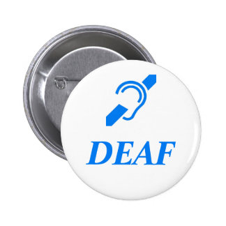 DEAF - Blue on White Background 6 Cm Round Badge