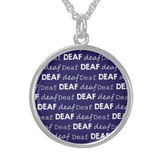 DEAF Culture Unique Typography White Blue Sterling Silver Necklace