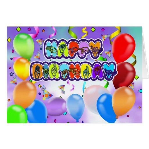 Deaf Language Happy Birthday Greeting Card