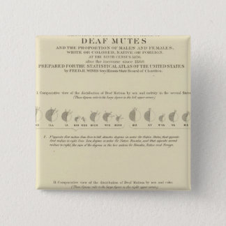 Deaf Mutes, Statistical US Lithograph 1870 15 Cm Square Badge