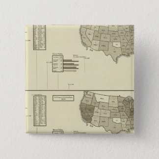 Deaf, Paupers, Prisoners statistical map 15 Cm Square Badge