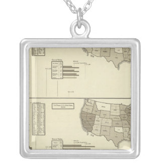 Deaf, Paupers, Prisoners statistical map Silver Plated Necklace