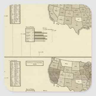 Deaf, Paupers, Prisoners statistical map Square Sticker