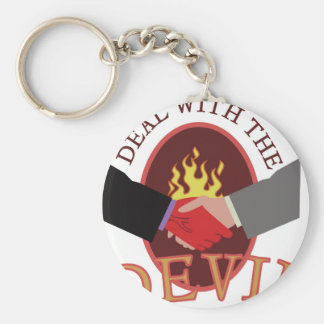 Deal With Devil Basic Round Button Key Ring