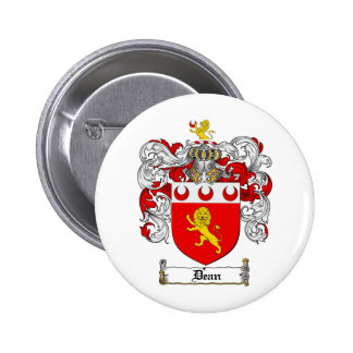 DEAN FAMILY CREST -  DEAN COAT OF ARMS 6 CM ROUND BADGE