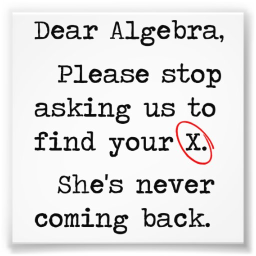 Dear Algebra Please Stop Asking Us To Find Your X Photographic Print