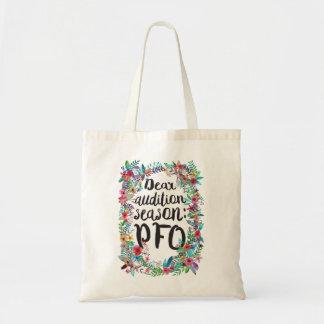 Dear audition season: PFO floral tote bag