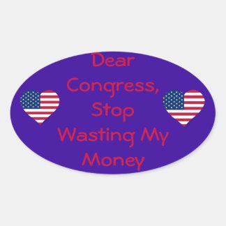 Dear Congress Oval Sticker