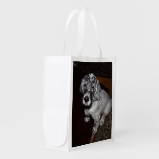 Dear English Setter Puppy Reusable Grocery Bag