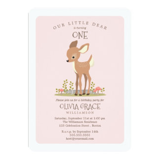 Dear Girl Little Deer Child's Birthday Party Card