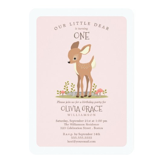 Dear Girl Little Deer Child's Birthday Party Card