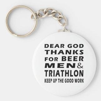 Dear God Thanks For Beer Men and Triathlon Basic Round Button Key Ring