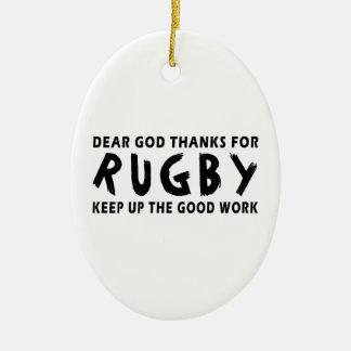 Dear God Thanks For Rugby Christmas Ornament