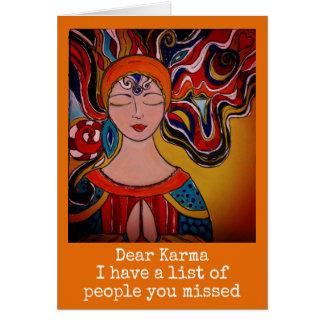 Dear Karma, humour card Zen meditation boho
