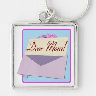 Dear Mom Silver-Colored Square Key Ring