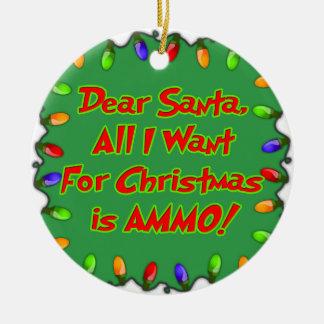 dear santa ammo christmas wish letter round ceramic decoration