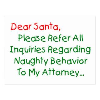 Dear Santa Attorney - Funny Christmas Letter Postcard