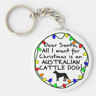 Dear Santa Australian Cattle Dog Basic Round Button Key Ring