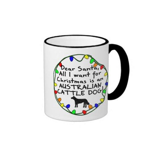Dear Santa Australian Cattle Dog Coffee Mugs