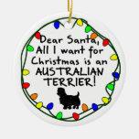 Dear Santa Australian Terrier Ornament