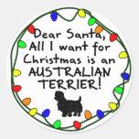 Dear Santa Australian Terrier Round Sticker