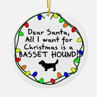 Dear Santa Basset Hound Round Ceramic Decoration