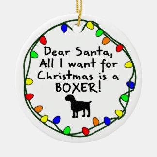 Dear Santa Boxer Christmas Ornament