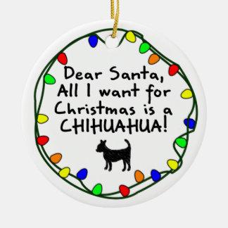 Dear Santa Chihuahua Christmas Ornament