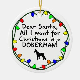 Dear Santa Doberman Christmas Ornament