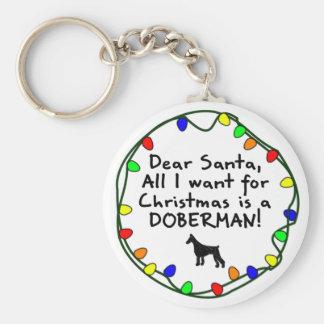 Dear Santa Doberman Key Ring