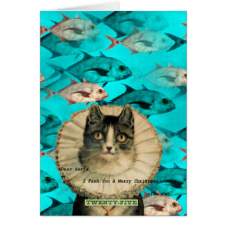 Dear Santa, Fish You Merry Christmas Kitty Greeting Cards