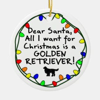 Dear Santa Golden Retriever Christmas Ornament