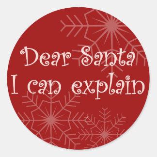 Dear Santa I can explain Classic Round Sticker