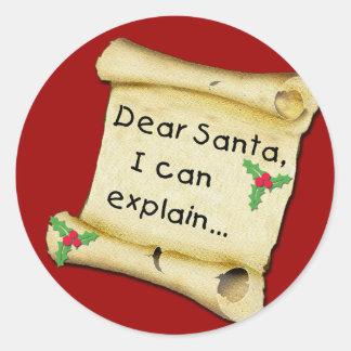 Dear Santa...I Can Explain Funny Kids Tshirt Round Sticker