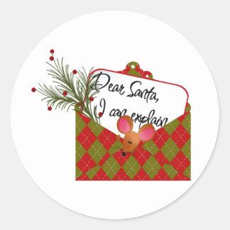 Dear Santa...I Can Explain Round Stickers