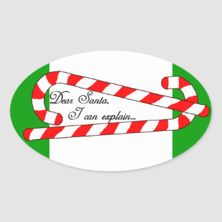 Dear Santa, I Can Explain Oval Stickers