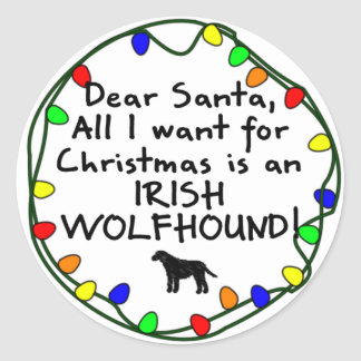 Dear Santa Irish Wolfhound Classic Round Sticker